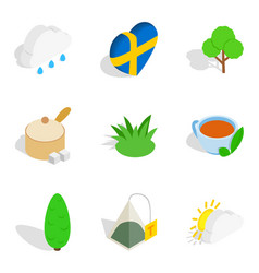 stockholm icons set isometric style vector image vector image