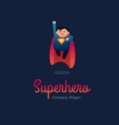superhero logo concept fat character flying flat vector image vector image