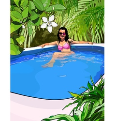 woman in a swimsuit in the pool in the tropics vector image