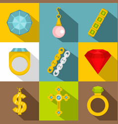 women jewelry icon set flat style vector image vector image