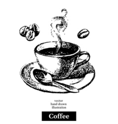 Hand drawn sketch black and white vintage coffee vector