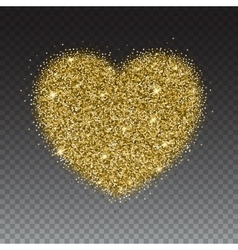 Icon of heart with gold sparkles and glitter vector