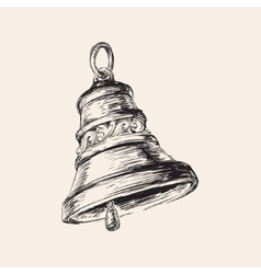 Hand drawn christmas bell vector
