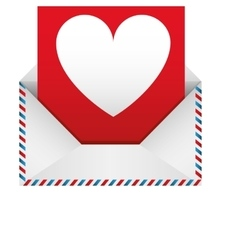 romantic envelope with heart draw vector image
