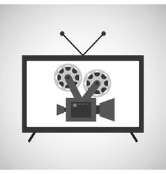 Screen tv movie retro camera film vector