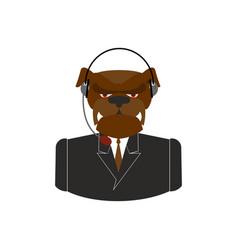 Pet call center dog with headset bulldog feedback vector