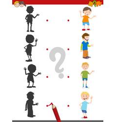 Cartoon shadow activity with kids vector