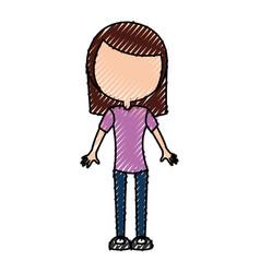 Scribble women body cartoon vector