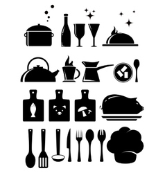 Set kitchen tools silhouette vector