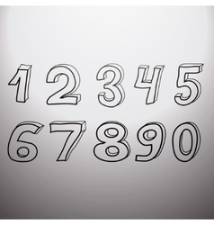 Set of artistic numbers vector