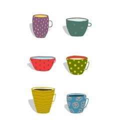 Cups and Mugs Ceramics Colorful Fun Set vector image