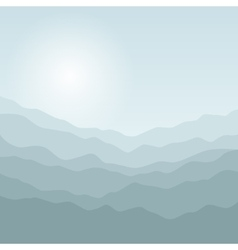 Silhouette of the mountains at sunrise vector