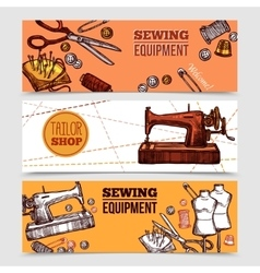 Vintage sewing banners vector