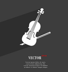 Violin symbol flat modern web design with long vector
