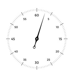 White clock face for with black and red pointer on vector