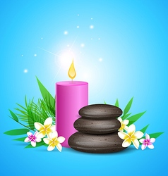 Spa stones and pink candles vector
