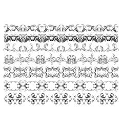 Antique vintage floral ornament set on white vector image