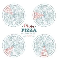 Scetch pizza menu vector image