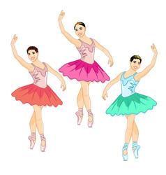 Beautiful prima ballerina in the croise pose vector
