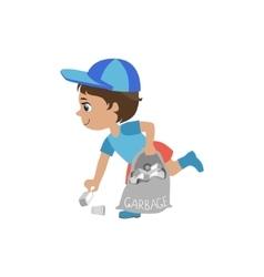 Boy picking up trash vector