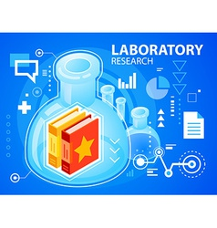 Bright laboratory research and books on blue vector