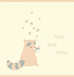 Card with a cute raccoon in love vector image vector image