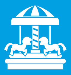 Carousel with horses icon white vector