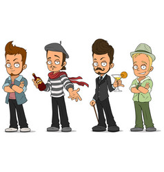 Cartoon handsome guys with alcohol characters set vector
