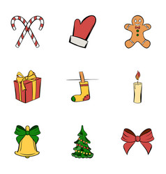 Christmas icons set cartoon style vector