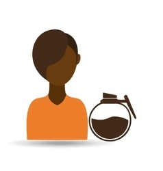 coffee maker girl icon graphic vector image