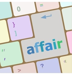 computer keyboard keys affair word vector image vector image