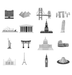Countries set icons in monochrome style Big vector image vector image