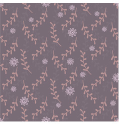Cute seamless pattern with twigs and flowers vector
