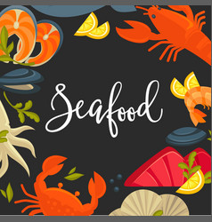 delicious seafood promotional banner with big vector image vector image