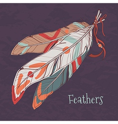 ethnic decorative feathers vector image vector image