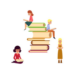 Flat adult people reading set vector