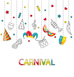 Greeting festive poster for happy carnival vector