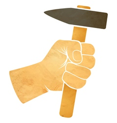 hand and hammer vector image vector image