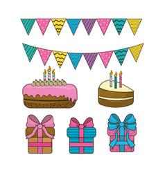 Happy birthday pastels with candles and gifts vector