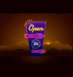 hotel sign buib and neon open vector image vector image