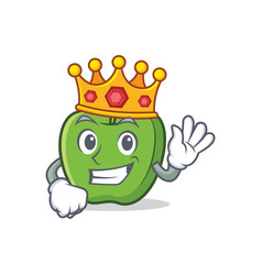 King green apple character cartoon vector
