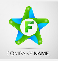 letter f logo symbol in the colorful star on grey vector image vector image