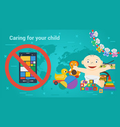 Long banner - children toys and smart phone vector