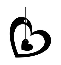 Monochrome silhouette of small heart inside in big vector