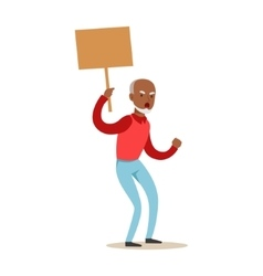 Old black man marching in protest with banner vector