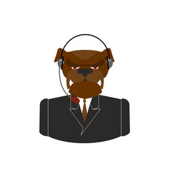 pet call center dog with headset bulldog feedback vector image