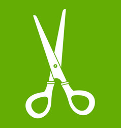 stationery scissors icon green vector image vector image