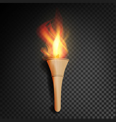 torch with flame burning in the dark transparent vector image vector image