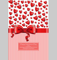 valentine day hearts card with bow vector image vector image