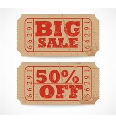 Vintage paper sale ticket vector